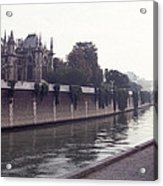 Walking The Dog Along The Seine Acrylic Print
