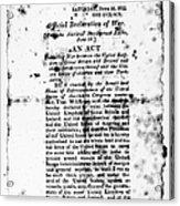 War Of 1812: Broadside Acrylic Print