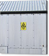 Warning Sign On An Industrial Building Acrylic Print by Iain Sarjeant