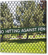 Warning Sign On Chain Fence Acrylic Print by Thom Gourley/Flatbread Images, LLC
