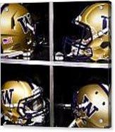 Washington Huskies Football Helmets  Acrylic Print by Replay Photos