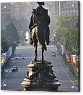 Washington Looking Down The Parkway - Philadelphia Acrylic Print