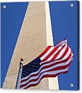 Washington Monument Flag Acrylic Print