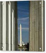Washington Monument Framed By Lincoln Memorial Acrylic Print