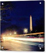 Washington Monument On A Rainy Rush Hour Acrylic Print