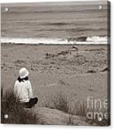 Watching The Ocean In Black And White Acrylic Print