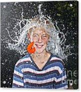 Water Balloon Popped Above Boys Head Acrylic Print