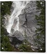 Water Cascading Down The Rock And Acrylic Print