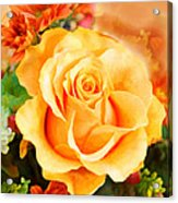 Water Color Yellow Rose With Orange Flower Accents Acrylic Print