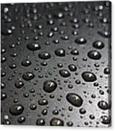Water Drops On Black Metalica. Business Card. Invitation. Sympathy Note. Acrylic Print