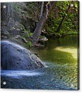 Water Falling On Rock Acrylic Print