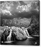 Water Falls At The Aquasabon River Mouth Acrylic Print