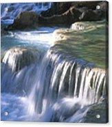 Water Flowes Over Travertine Formations Acrylic Print
