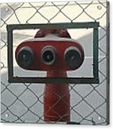 Water Hydrants Built Into A Wire Mesh Fence Acrylic Print