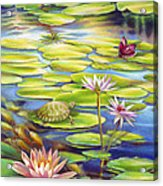 Water Lilies At Mckee Gardens I - Turtle Butterfly And Koi Fish Acrylic Print