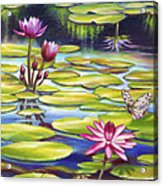 Water Lilies At Mckee Gardens II - Butterfly And Frog Acrylic Print by Nancy Tilles