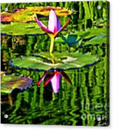 Water Lily Pond Garden Impressionistic Monet Style Acrylic Print
