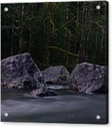 Water Moving Around Rock Acrylic Print