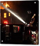 Water On The Fire From Pumper Truck Acrylic Print