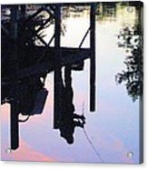 Water Reflection Of A Fisherman Acrylic Print