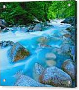Water Rushing Through Rocks Acrylic Print
