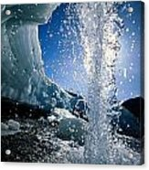 Water Splashes Over A Sheet Of Ice Acrylic Print