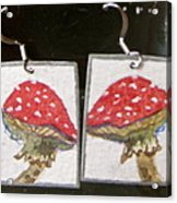 Watercolor Earrings Amanita Acrylic Print