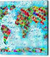 Watercolor Splashes World Map Acrylic Print