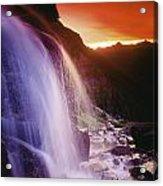 Waterfall At Sunset, Bugaboo Glacier Acrylic Print
