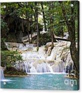 Waterfall In Deep Forest Acrylic Print by Setsiri Silapasuwanchai