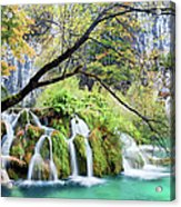Waterfall In The Plitvice Lakes National Park Acrylic Print
