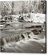 Waterfall With Fresh Snow Thunder Bay Acrylic Print by Susan Dykstra