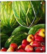 Watermellons And Apples Acrylic Print by Elaine Manley