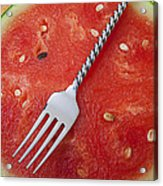 Watermelon And Fork Acrylic Print