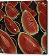 Watermelon Slices Sold At A Market Acrylic Print by Todd Gipstein
