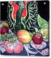 Watermelon Swan Acrylic Print by Sally Weigand
