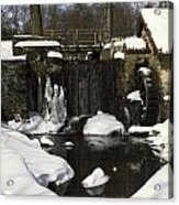 Waterwheel And Stream In Winter Acrylic Print