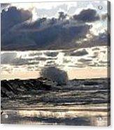 Wave Crashing Into Jetty On Lake Michigan Acrylic Print