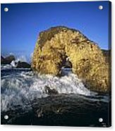Wave Splashing Against Natural Arch Acrylic Print