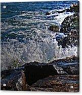 Waves Meet Jetty Acrylic Print