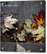 We Must Let Go To Begin Anew... Acrylic Print