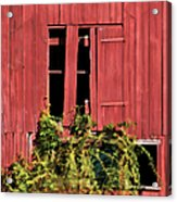 Weathered Broken Red Barn Window Of New Jersey Acrylic Print