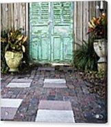Weathered Green Door Acrylic Print by Sam Bloomberg-rissman