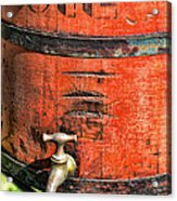 Weathered Red Oil Bucket Acrylic Print