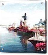 Wellington Harbour Tugs At Anchor Waterloo Quay Acrylic Print