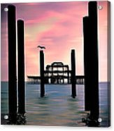 West Pier Silhouette Acrylic Print