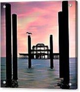 West Pier Silhouette Acrylic Print