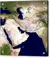 Western Asia, Satellite Image Acrylic Print