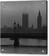 Westminster On A Foggy Day Acrylic Print
