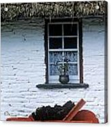 Wheelbarrow In Front Of A Window Of A Acrylic Print